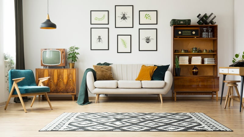 A living room filled with midcentury modern furniture