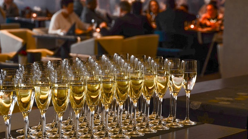 Champagne glasses set out on a table