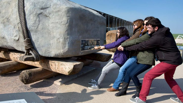 Pulling a giant sarsen at Stonehenge visitor centre